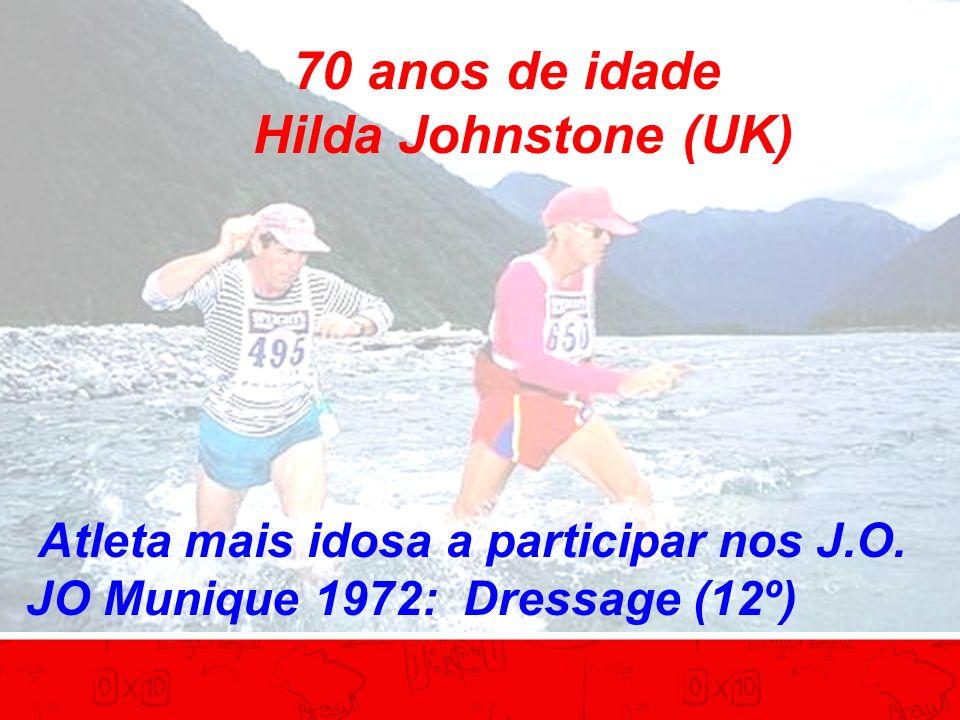 70 anos de idade Hilda Johnstone (UK) Atleta mais idosa a participar nos J.O.