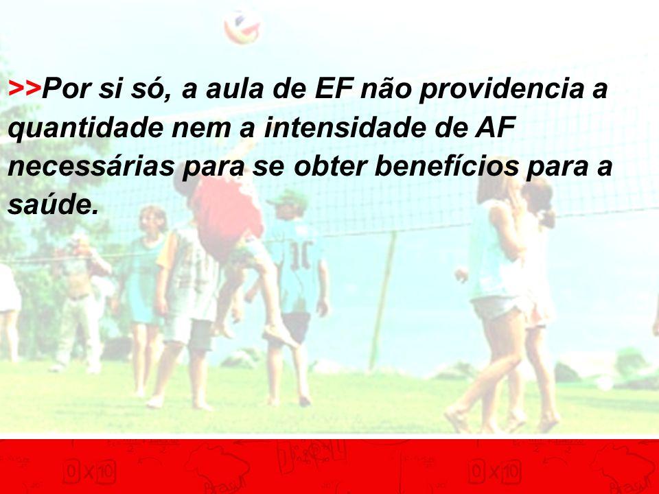>>Por si só, a aula de EF não providencia a quantidade nem a intensidade de AF necessárias para se obter benefícios para a saúde.