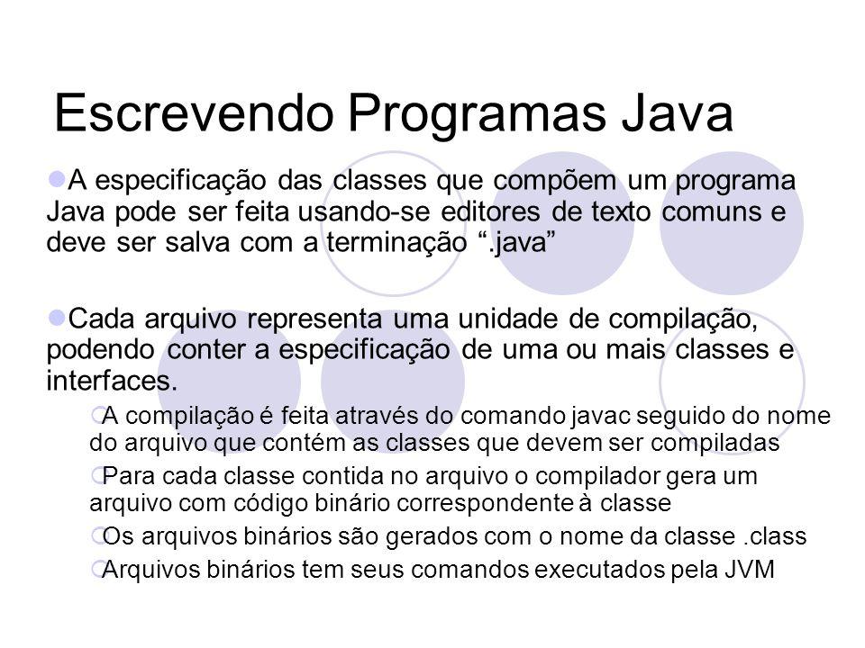 Escrevendo Programas Java