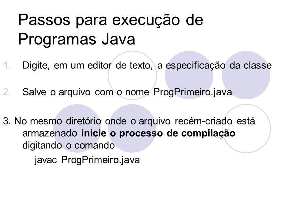 Passos para execução de Programas Java