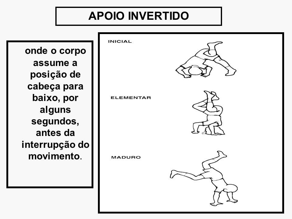 APOIO INVERTIDO onde o corpo assume a posição de cabeça para baixo, por alguns segundos, antes da interrupção do movimento.
