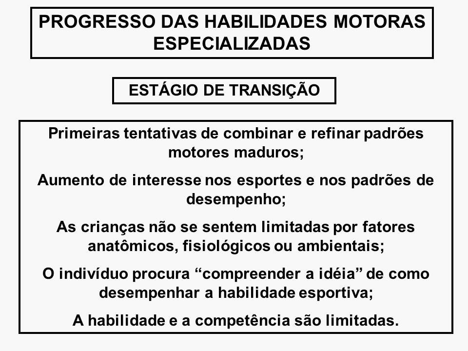 PROGRESSO DAS HABILIDADES MOTORAS ESPECIALIZADAS