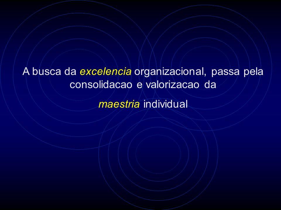 A busca da excelencia organizacional, passa pela consolidacao e valorizacao da