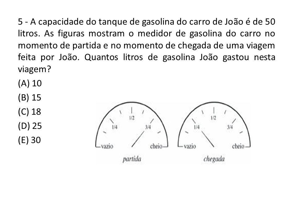 5 - A capacidade do tanque de gasolina do carro de João é de 50 litros