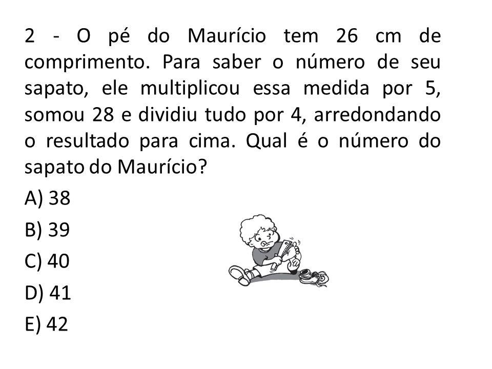 2 - O pé do Maurício tem 26 cm de comprimento