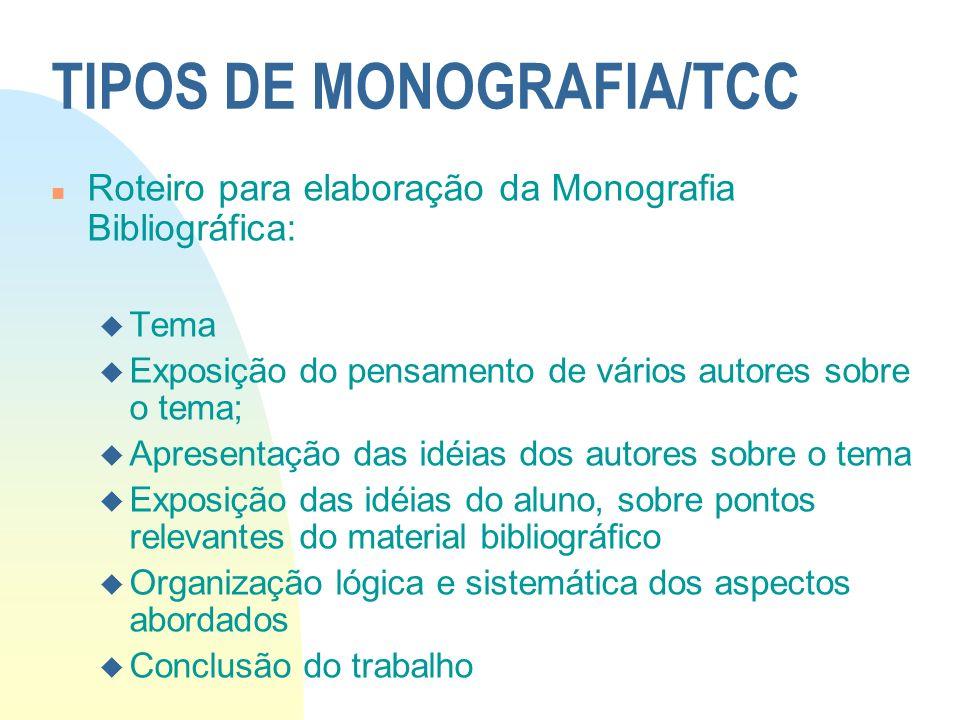 TIPOS DE MONOGRAFIA/TCC