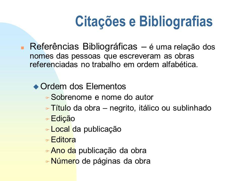 Citações e Bibliografias