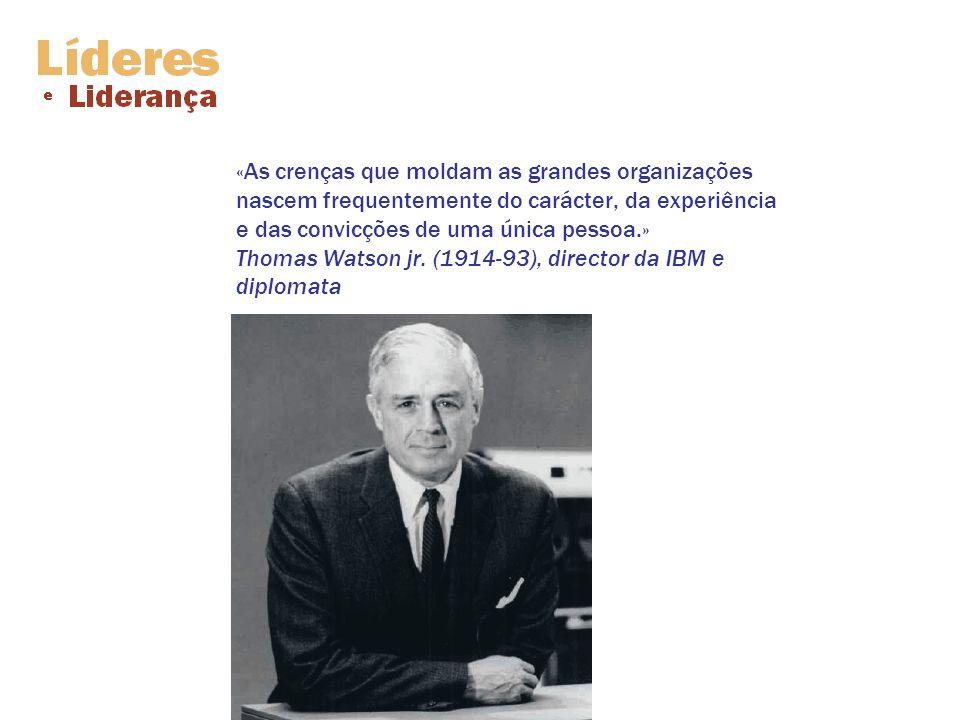 «As crenças que moldam as grandes organizações nascem frequentemente do carácter, da experiência e das convicções de uma única pessoa.» Thomas Watson jr.