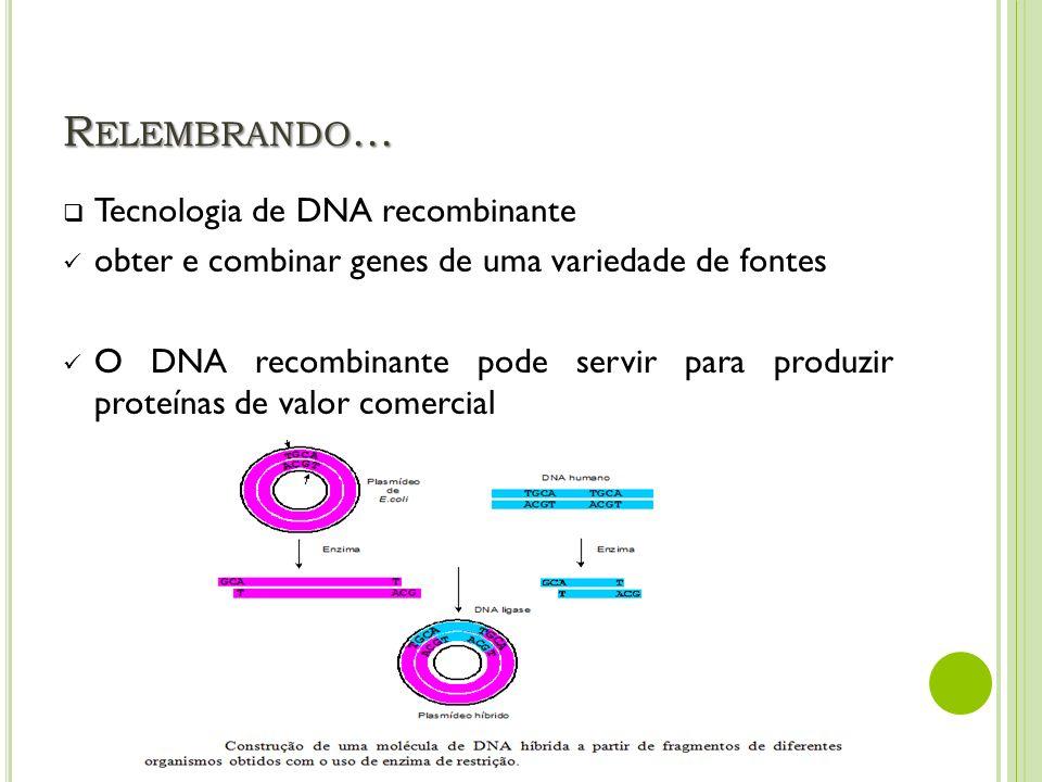 Relembrando... Tecnologia de DNA recombinante