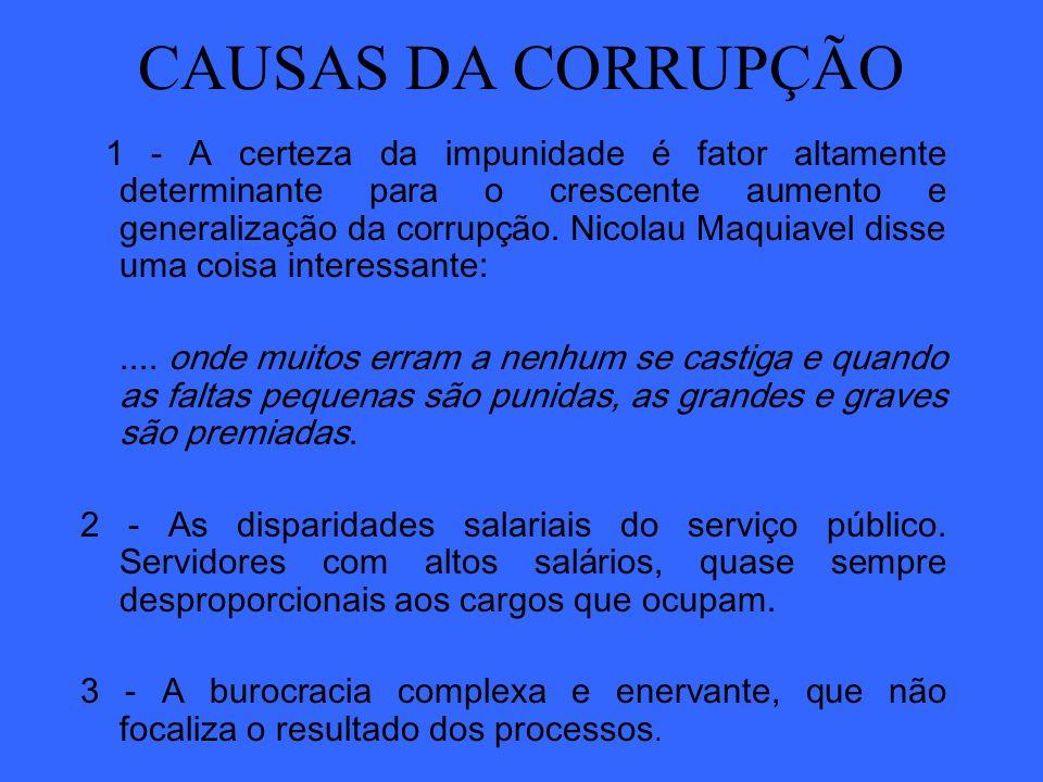 CAUSAS DA CORRUPÇÃO