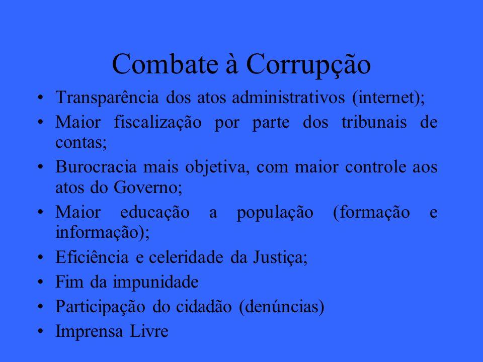 Combate à Corrupção Transparência dos atos administrativos (internet);