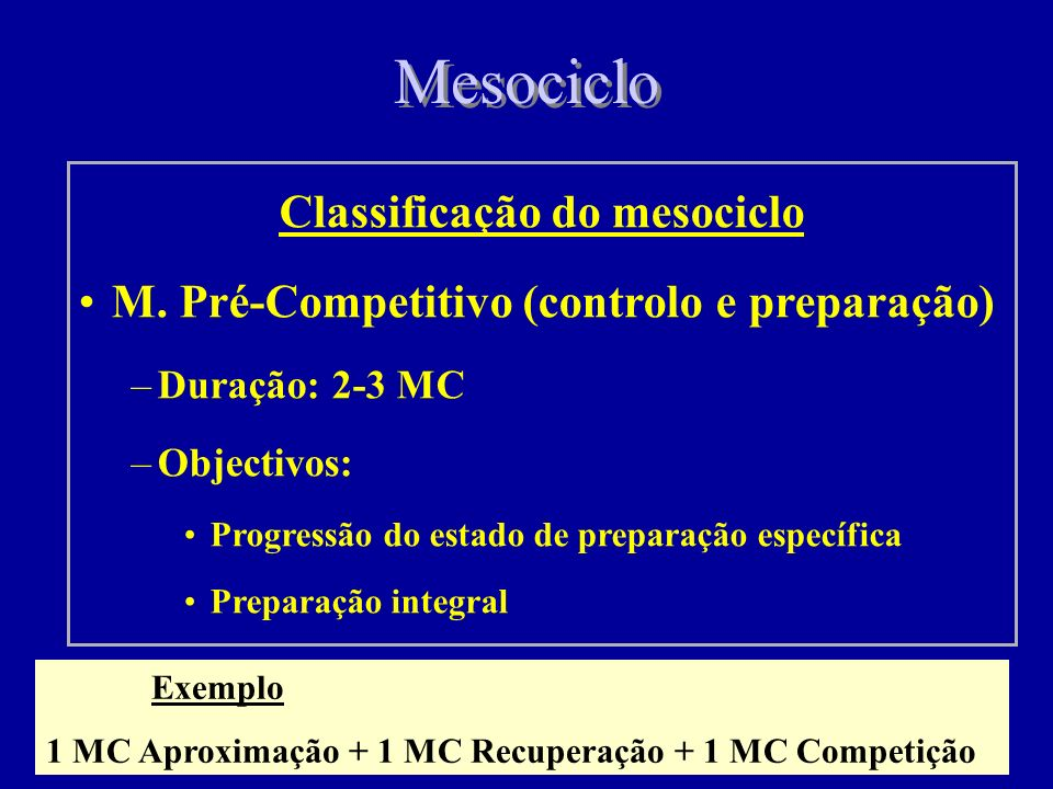 Classificação do mesociclo
