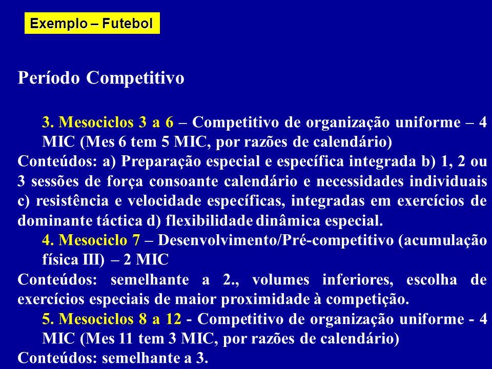 Exemplo – Futebol Período Competitivo. Mesociclos 3 a 6 – Competitivo de organização uniforme – 4 MIC (Mes 6 tem 5 MIC, por razões de calendário)
