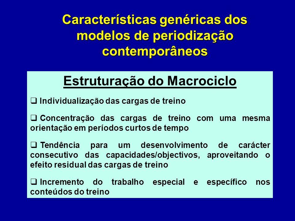 Características genéricas dos modelos de periodização contemporâneos