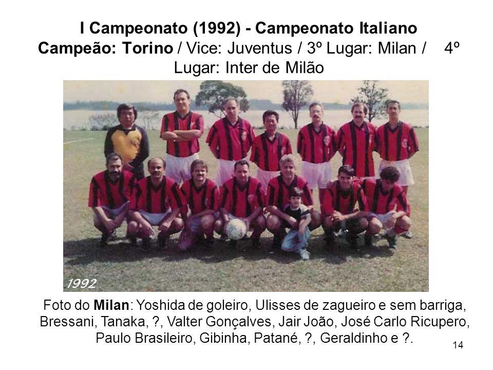 I Campeonato (1992) - Campeonato Italiano Campeão: Torino / Vice: Juventus / 3º Lugar: Milan / 4º Lugar: Inter de Milão