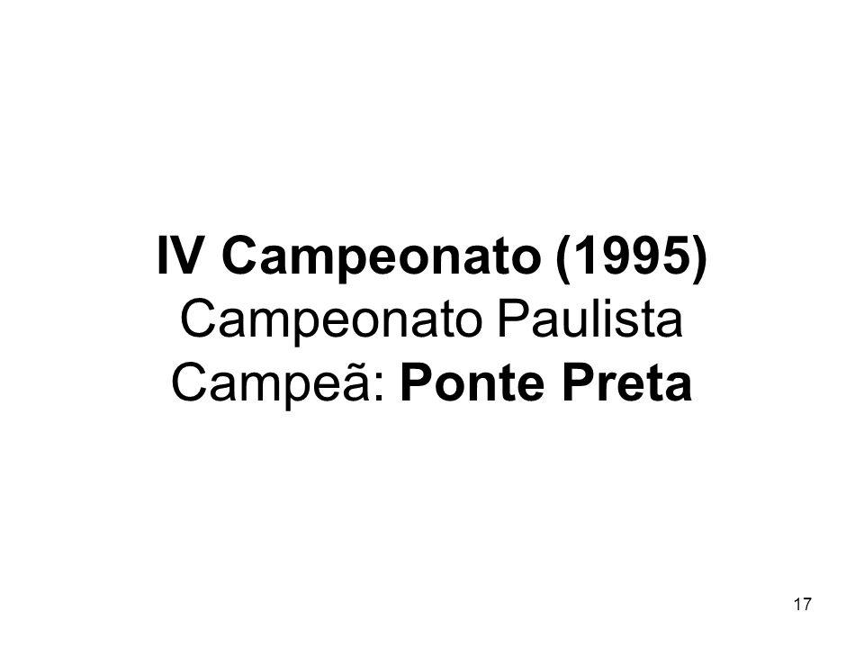 IV Campeonato (1995) Campeonato Paulista Campeã: Ponte Preta