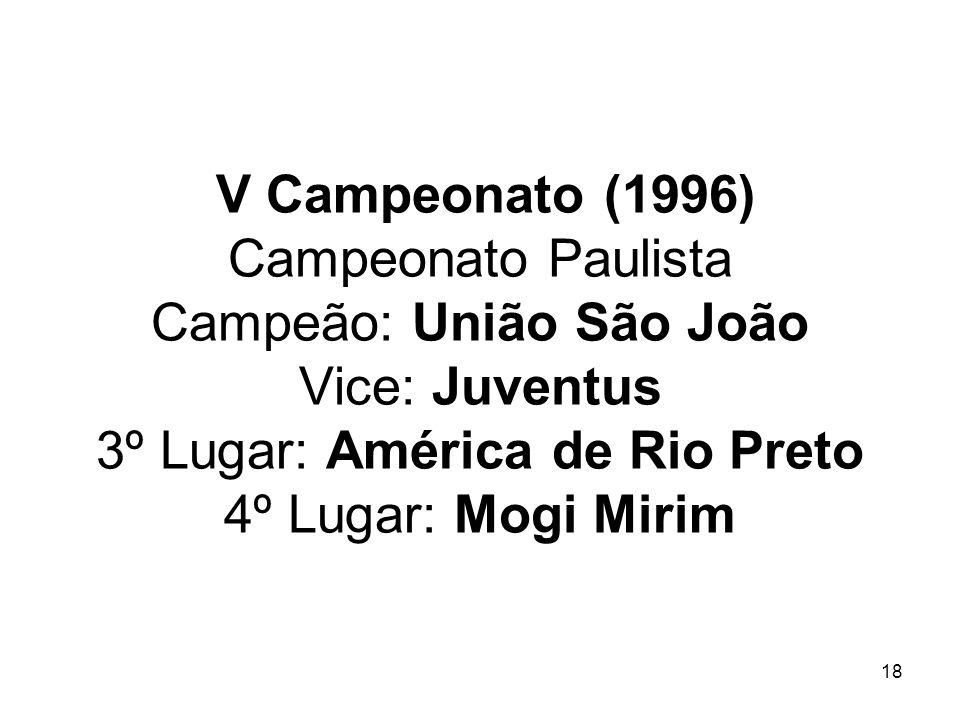 V Campeonato (1996) Campeonato Paulista Campeão: União São João Vice: Juventus 3º Lugar: América de Rio Preto 4º Lugar: Mogi Mirim