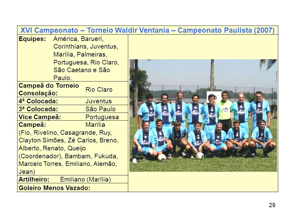 XVI Campeonato – Torneio Waldir Ventania – Campeonato Paulista (2007)
