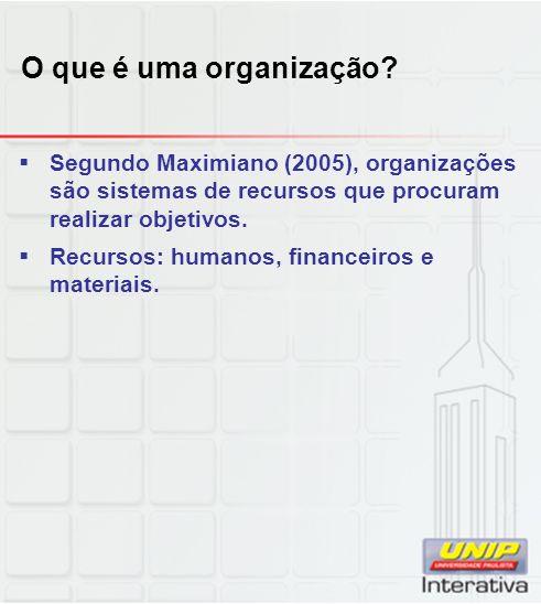 O que é uma organização Segundo Maximiano (2005), organizações são sistemas de recursos que procuram realizar objetivos.