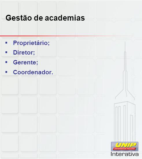 Gestão de academias Proprietário; Diretor; Gerente; Coordenador.