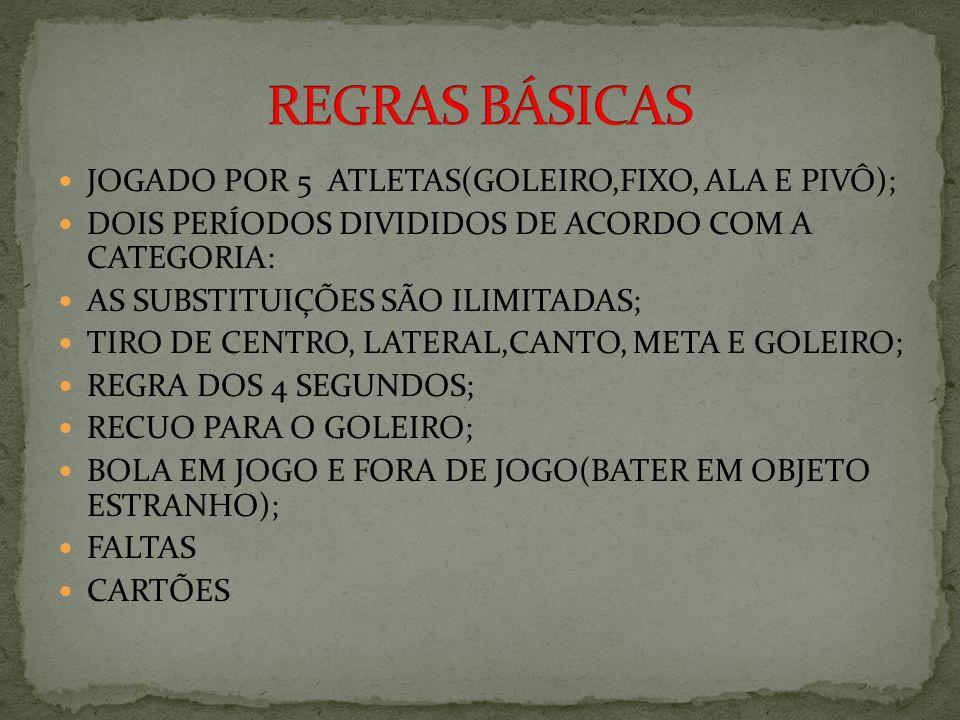REGRAS BÁSICAS JOGADO POR 5 ATLETAS(GOLEIRO,FIXO, ALA E PIVÔ);