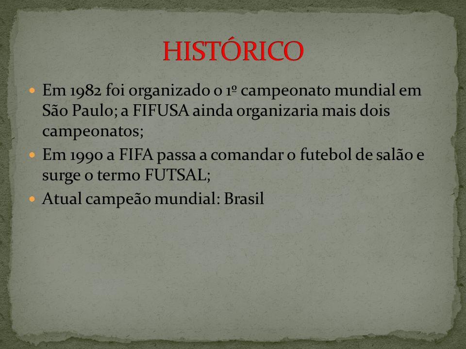 HISTÓRICO Em 1982 foi organizado o 1º campeonato mundial em São Paulo; a FIFUSA ainda organizaria mais dois campeonatos;