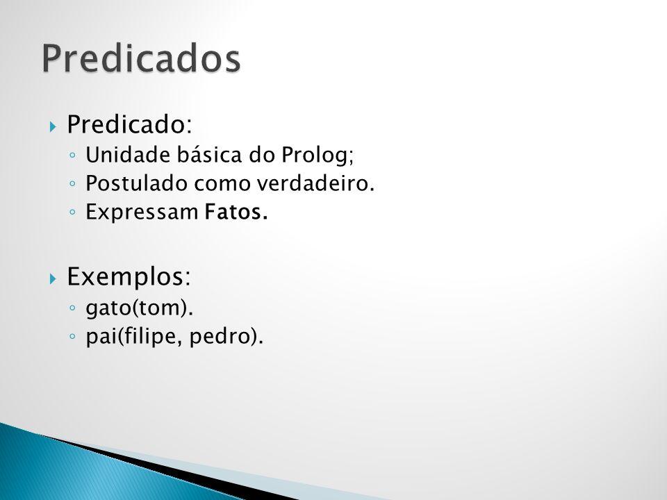 Predicados Predicado: Exemplos: Unidade básica do Prolog;