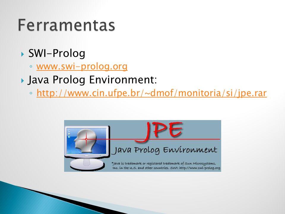 Ferramentas SWI-Prolog Java Prolog Environment: www.swi-prolog.org