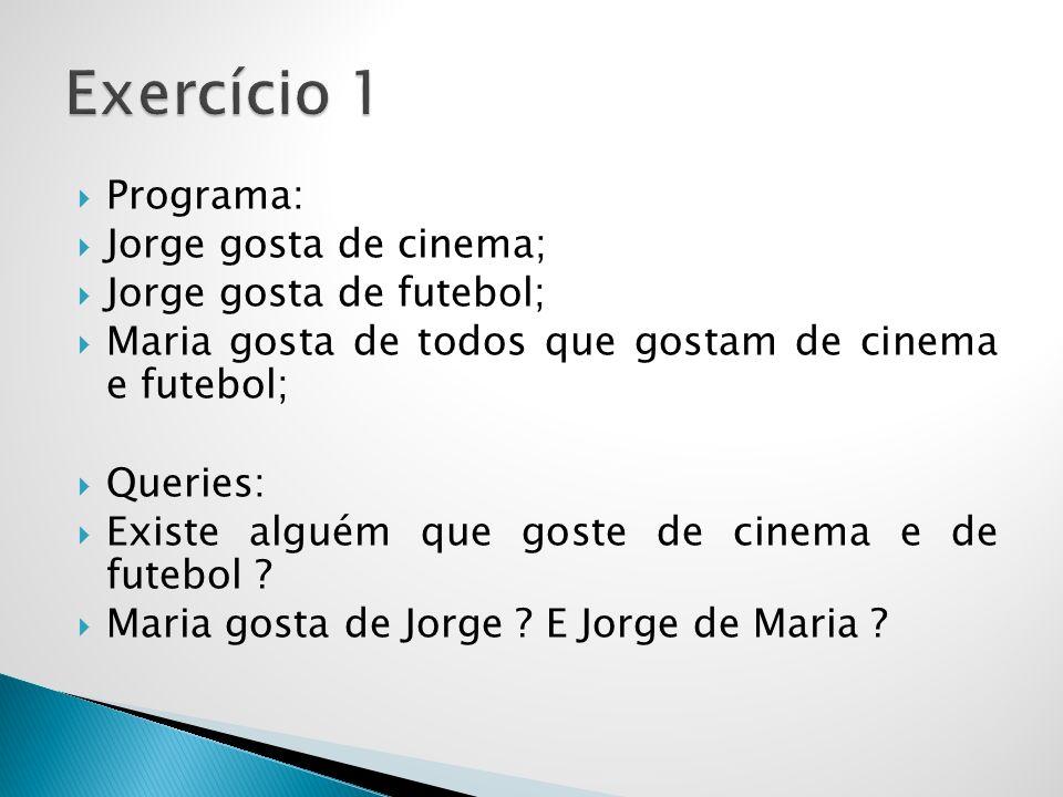 Exercício 1 Programa: Jorge gosta de cinema; Jorge gosta de futebol;