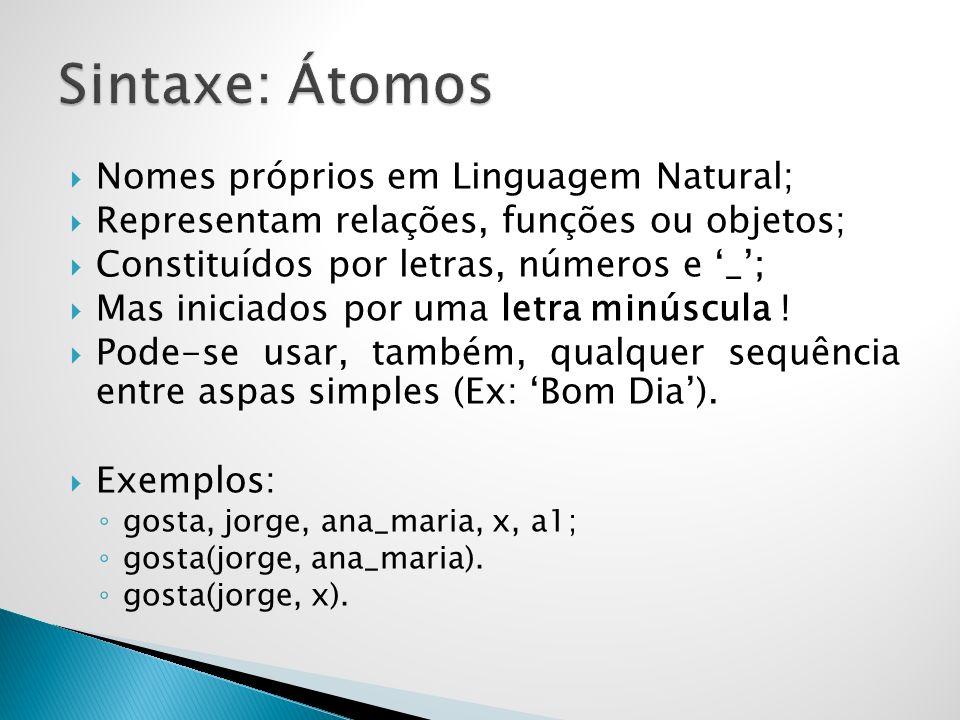 Sintaxe: Átomos Nomes próprios em Linguagem Natural;