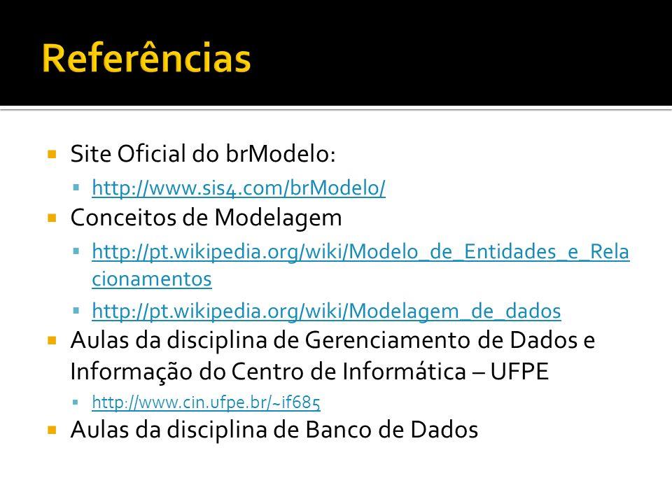 Referências Site Oficial do brModelo: Conceitos de Modelagem