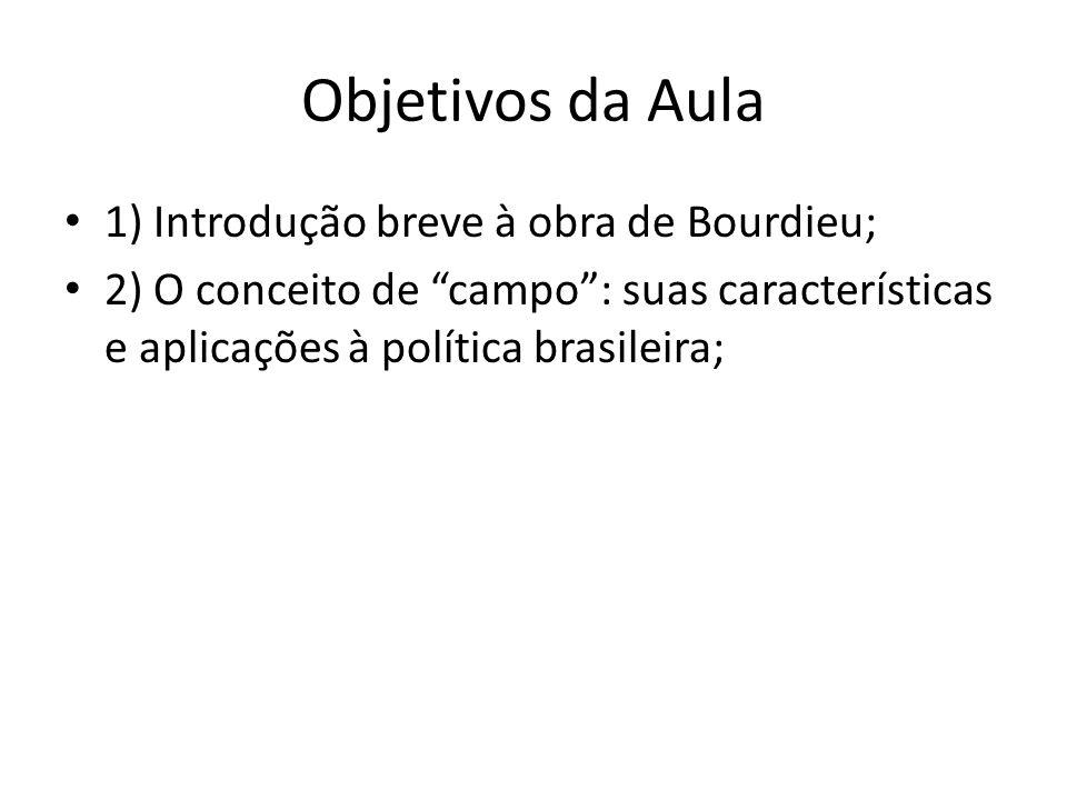 Objetivos da Aula 1) Introdução breve à obra de Bourdieu;