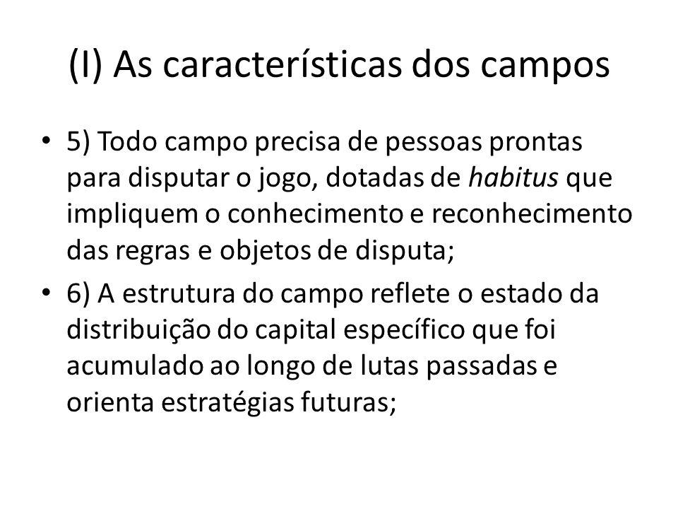 (I) As características dos campos