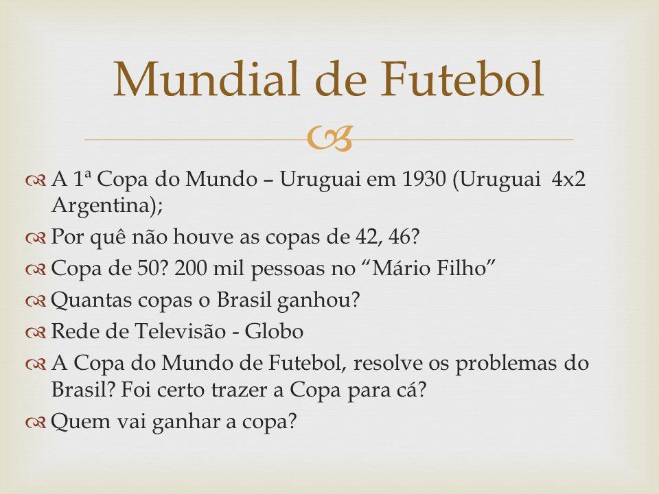 Mundial de Futebol A 1ª Copa do Mundo – Uruguai em 1930 (Uruguai 4x2 Argentina); Por quê não houve as copas de 42, 46