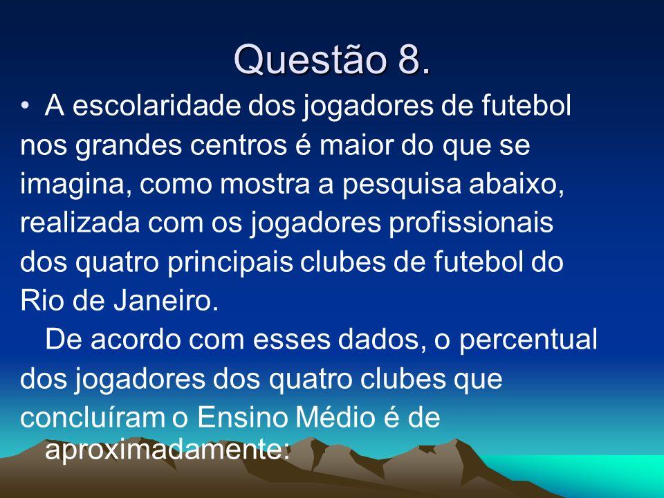 Questão 8. A escolaridade dos jogadores de futebol