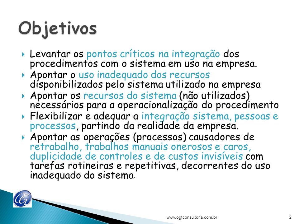 Objetivos Levantar os pontos críticos na integração dos procedimentos com o sistema em uso na empresa.