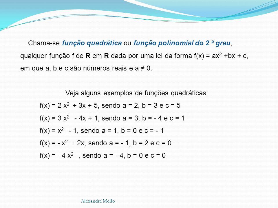 Veja alguns exemplos de funções quadráticas: