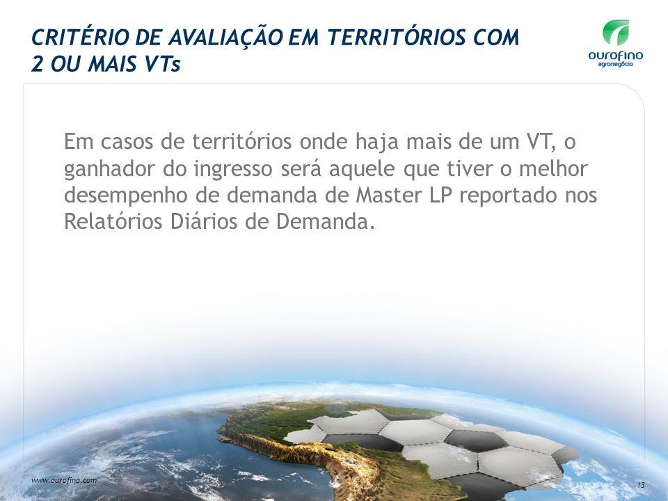 CRITÉRIO DE AVALIAÇÃO EM TERRITÓRIOS COM 2 OU MAIS VTs