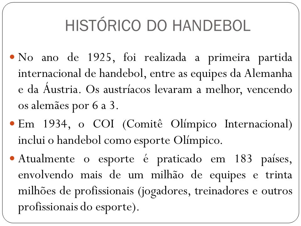 HISTÓRICO DO HANDEBOL