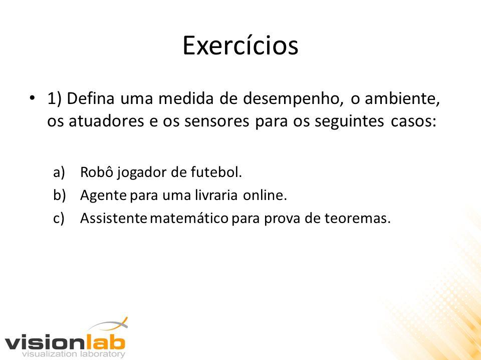 Exercícios 1) Defina uma medida de desempenho, o ambiente, os atuadores e os sensores para os seguintes casos: