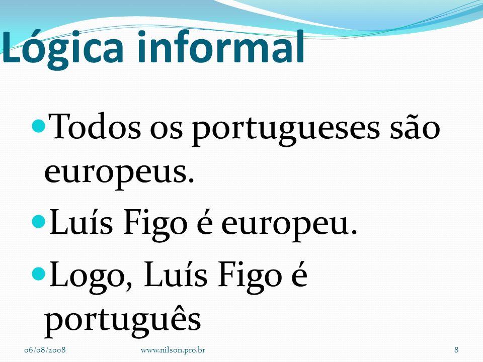 Lógica informal Todos os portugueses são europeus.