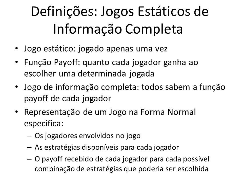 Definições: Jogos Estáticos de Informação Completa