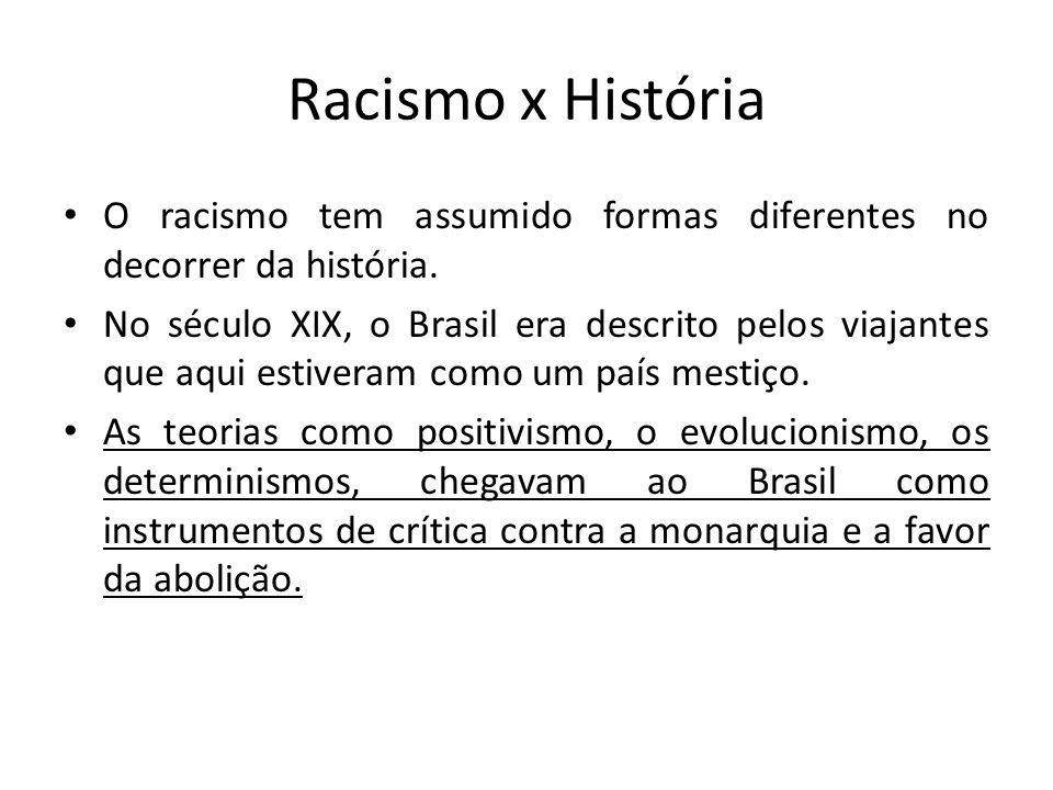 Racismo x História O racismo tem assumido formas diferentes no decorrer da história.
