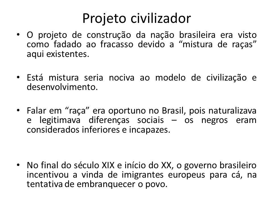 Projeto civilizador O projeto de construção da nação brasileira era visto como fadado ao fracasso devido a mistura de raças aqui existentes.