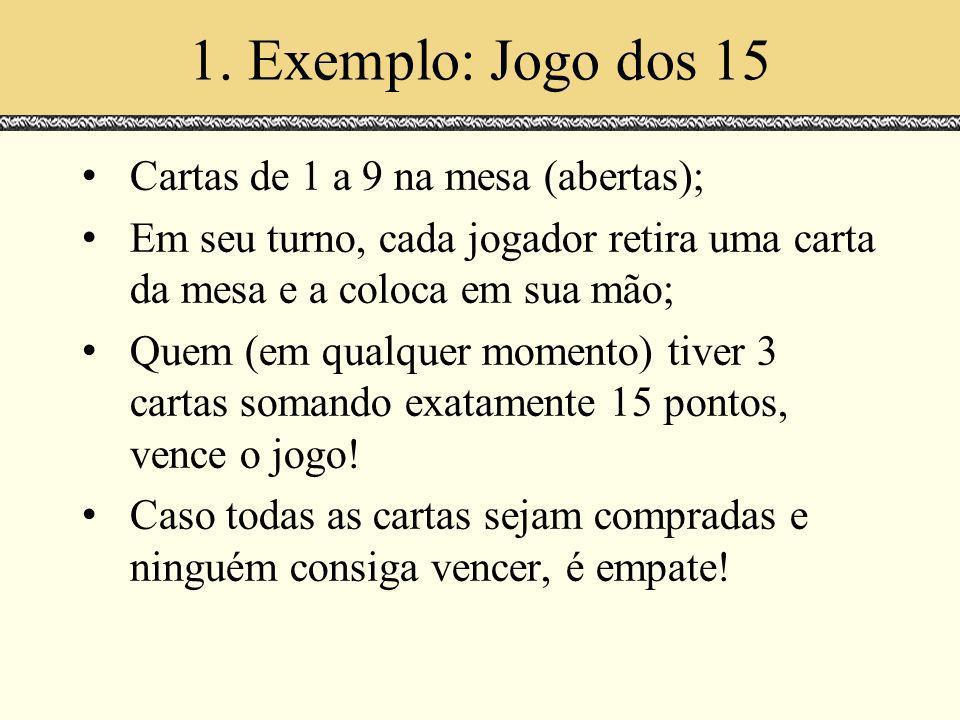 1. Exemplo: Jogo dos 15 Cartas de 1 a 9 na mesa (abertas);