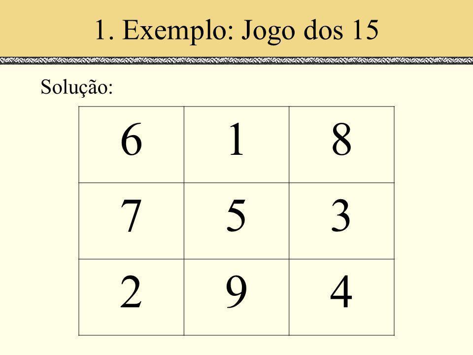 6 1 8 7 5 3 2 9 4 1. Exemplo: Jogo dos 15 Solução: Espaços de Escala