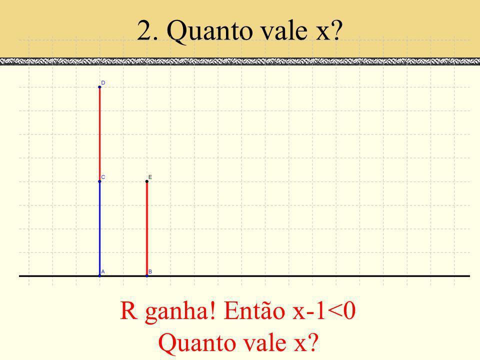 2. Quanto vale x R ganha! Então x-1<0 Quanto vale x