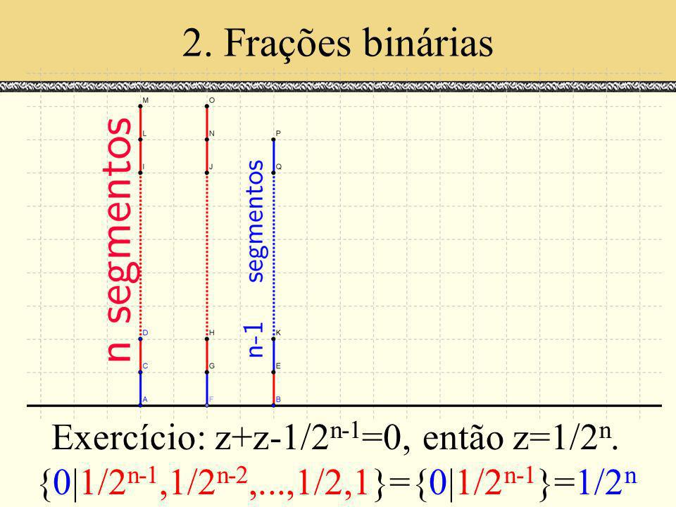 2. Frações binárias Exercício: z+z-1/2n-1=0, então z=1/2n.