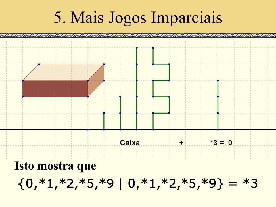 5. Mais Jogos Imparciais Espaços de Escala. Julho 2000. Isto mostra que {0,*1,*2,*5,*9 | 0,*1,*2,*5,*9} = *3
