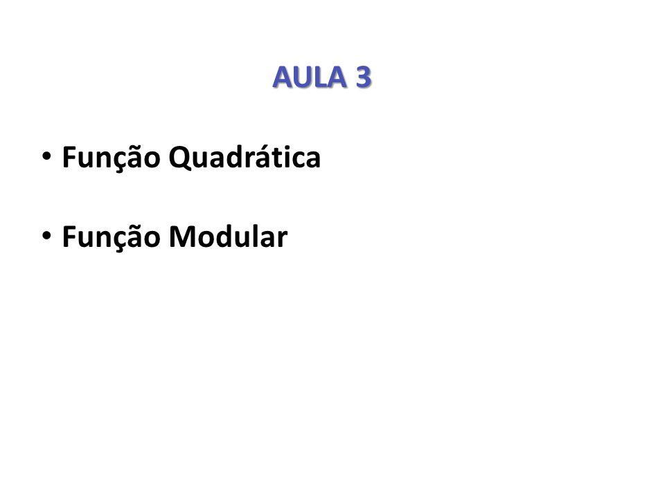 AULA 3 Função Quadrática Função Modular